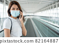Portrait of a young woman in a medical mask for anti-coronavirus COVID-19 pandemic infectious disease outbreak protection and use a smartphone in Public area. Concept of Virus pandemic and pollution 82164887