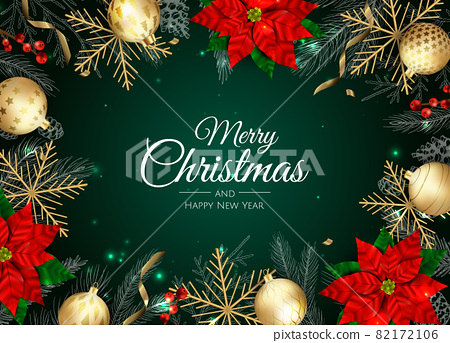 Merry Christmas and Happy New Year. Xmas background with Snowflakes and balls design. 82172106