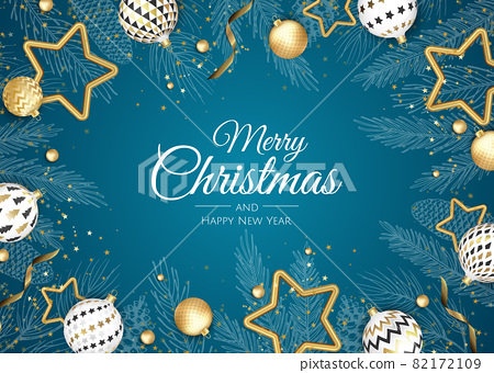 Merry Christmas and Happy New Year. Xmas background with Snowflakes and balls design. 82172109