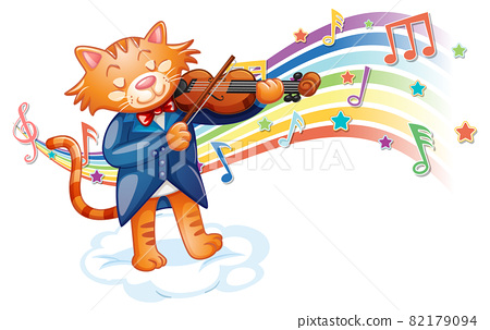 Cat playing violin with melody symbols on rainbow wave 82179094