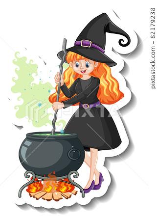 Beautiful witch cartoon character sticker 82179238