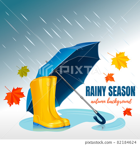 Blue Umbrella and rubber boots. Rainy season 82184624