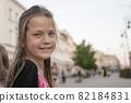 child girl in city 82184831