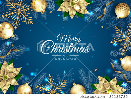 Merry Christmas and Happy New Year. Xmas Festive background with realistic 3d objects, blue and gold balls. 82188786