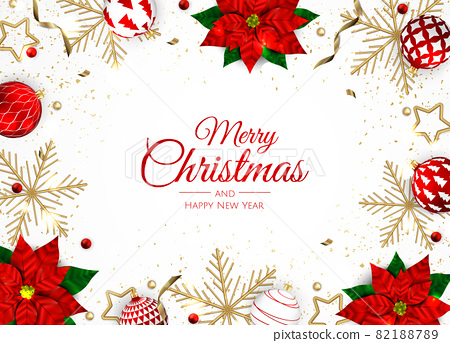 Christmas and New Year background. Bright Winter holiday composition. Greeting card, banner, poster 82188789