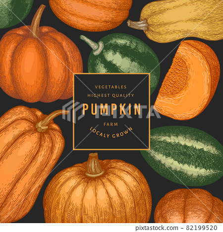 Pumpkin color design template. Vector hand drawn illustrations. Thanksgiving backdrop in retro style with pumpkin harvest. Autumn background. 82199520
