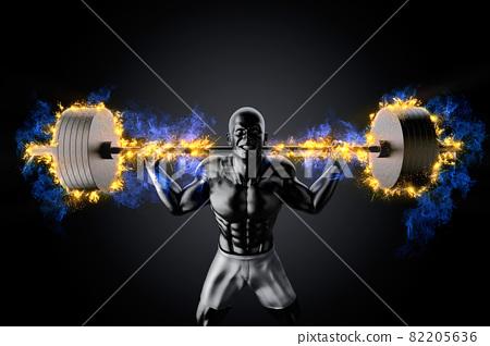 Emotional bodybuilder with burning barbell 82205636