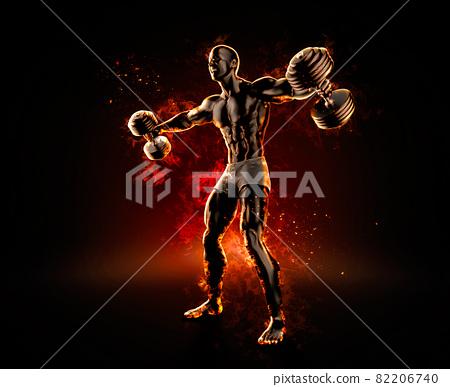 Handsome bodybuilder with dumbbells. 3d illustration 82206740