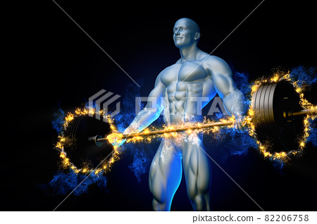Bodybuilder with a burning barbell 82206758