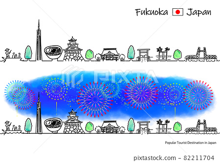 Simple line drawing set of fireworks and cityscape of sightseeing spots in Fukuoka Prefecture 82211704