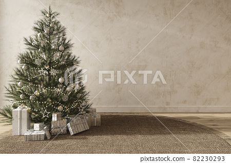 Christmas tree with toys and gifts decorate modern interior scandinavian style. Empty stucco wall mock up. 3d render illustration. 82230293