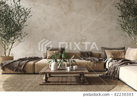 Scandinavian farmhouse style beige living room interior with natural wooden furniture. Mock up plaster wall background. 3d render illustration. 82230303