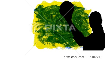 Silhouette of female handball player against yellow and green brush strokes on white background 82407710