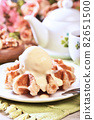 Plate of belgian waffles with ice cream 82651500
