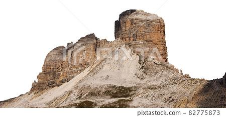 Mountain peak of Sesto Dolomites Isolated on White Background - Torre dei Scarperi 82775873