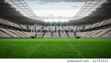 Composition of empty sports stadium with rugby field 82793331