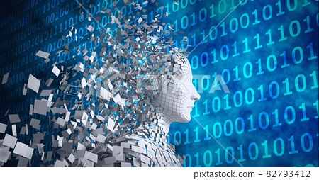 Composition of exploding human bust formed with particles over binary coding 82793412
