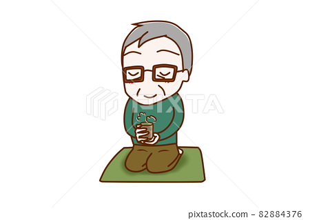 <Whole body / diagonal> An elderly man who sits upright, sits on a cushion, and enjoys drinking Japanese tea slowly. 82884376