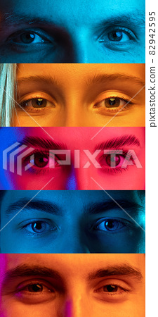 Vertical collage of open eyes of young multiethnic men and women on multicolored background. Concept of youth, unity, equality and diversity 82942595
