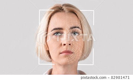 Interface, software for face recognition of young serious blonde lady 82981471