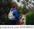 Portrait of woman hiker standing on the slope of mountain 83048003